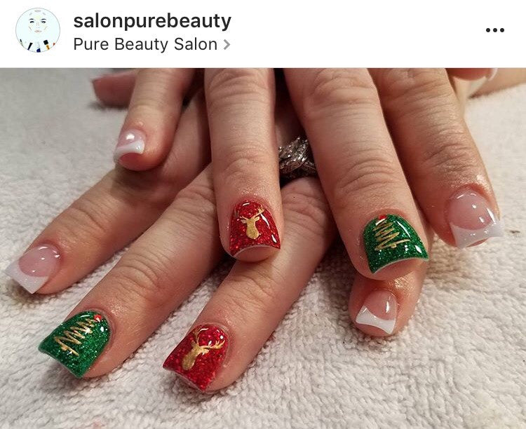 Christmas Tree Nail Decal Gold Shimmer We Love Glitter Design