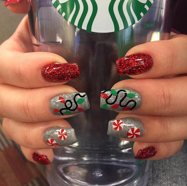 Red & White | Peppermint Swirl Nail Decal