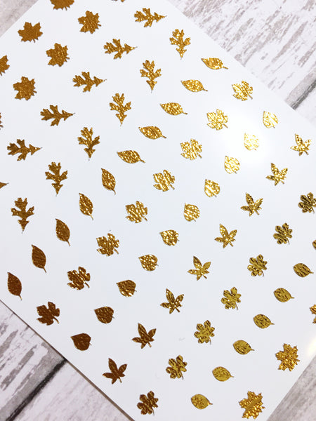 Fall Leaves Nail Decal | Textured Metal Inca Gold