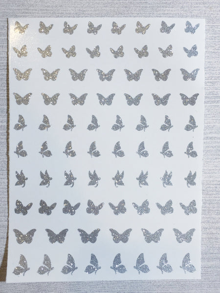 Butterfly Nail Decals | Sparkle Silver