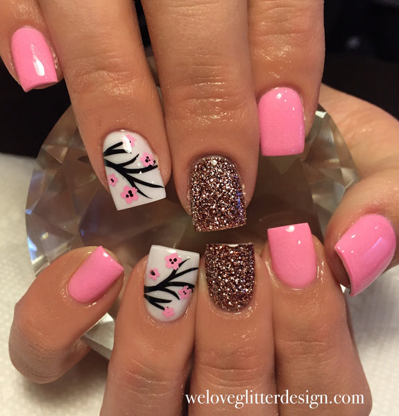 Soft Pink & Red | Cherry Blossom Nail Decal