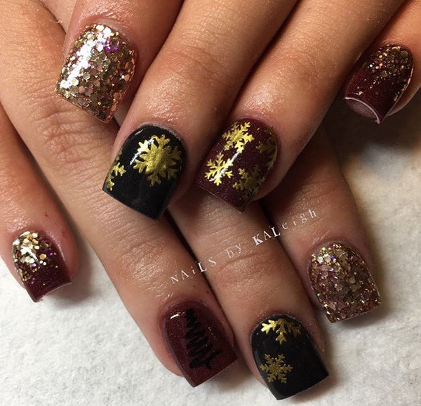 Gold Shimmer | Snowflakes DESIGN 1 Nail Decals