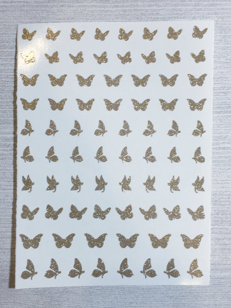 Butterfly Nail Decals | Sparkle Gold