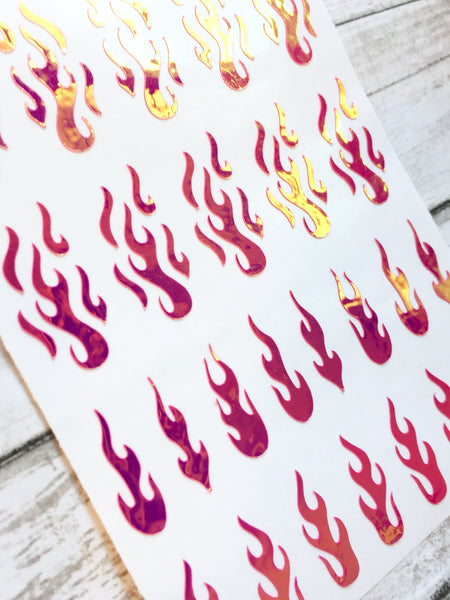 Flame Nail Decal | Opal Rose Pink