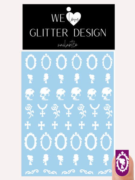 Victorian Skeleton Nail Decal (Un-weeded) | White + Choose Rose Color