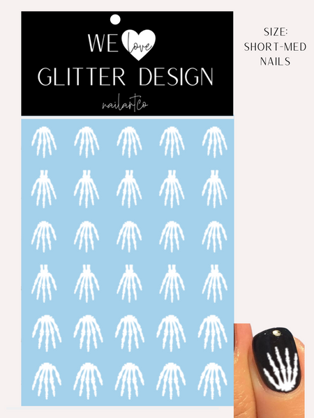 Skeleton Hand Nail Decal | White (CHOOSE LENGTH)