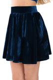 Basics Velvet Turtleneck Top & Mini Skirt Set - Sea Blue