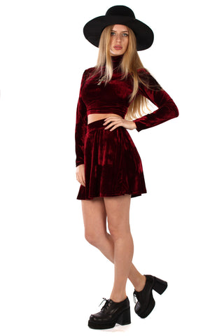 Basics Velvet Skater Mini Skirt