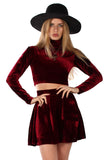 Basics Velvet Turtleneck Top & Mini Skirt Set - Garnet