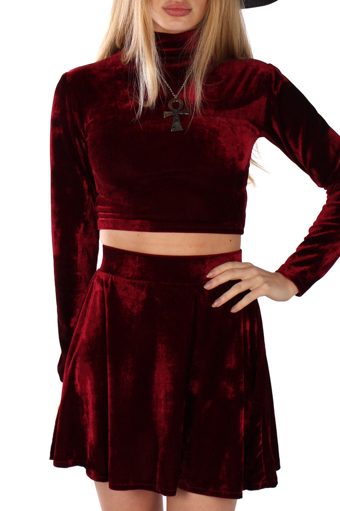 Basics Velvet Skater Mini Skirt - Garnet