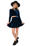 Basics Velvet Skater Mini Skirt - Sea Blue