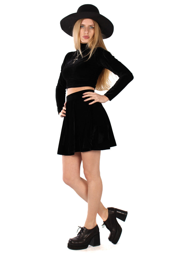 Basics Velvet Turtleneck Top & Mini Skirt Set - Onyx