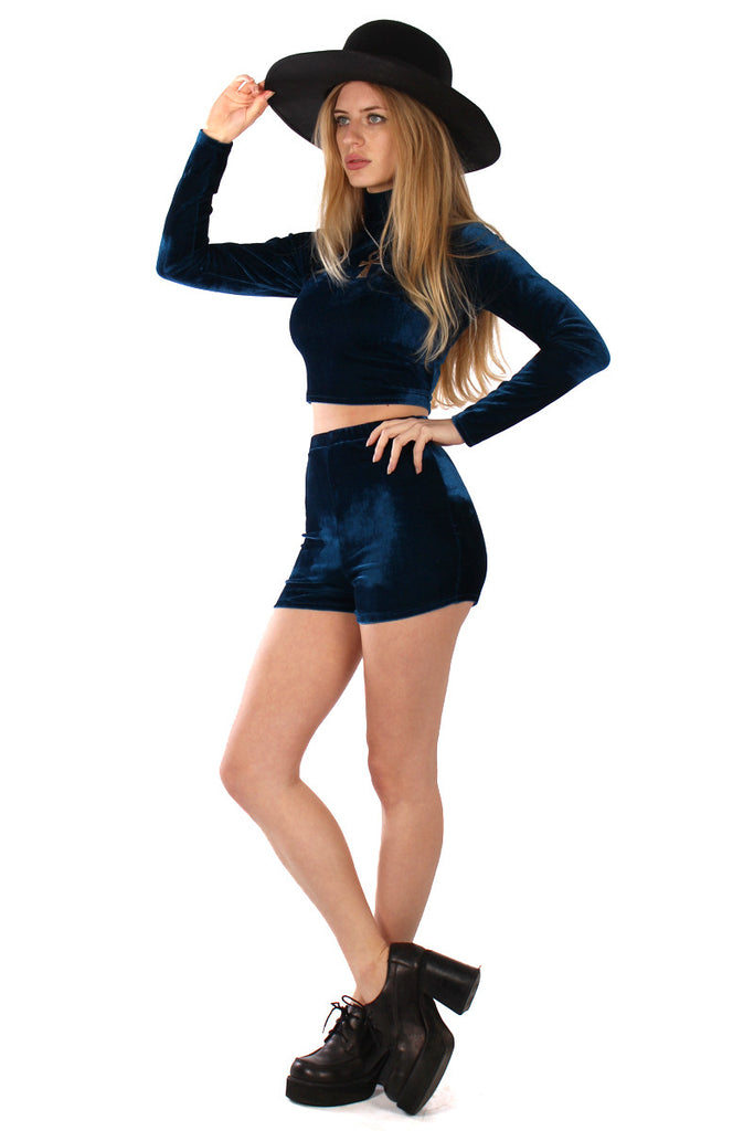 Basics Velvet Turtleneck Top & Shorts Set - Sea Blue