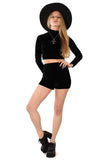 Basics Velvet Turtleneck Top & Shorts Set - Onyx