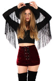 Aura Black Fringe Crop Top