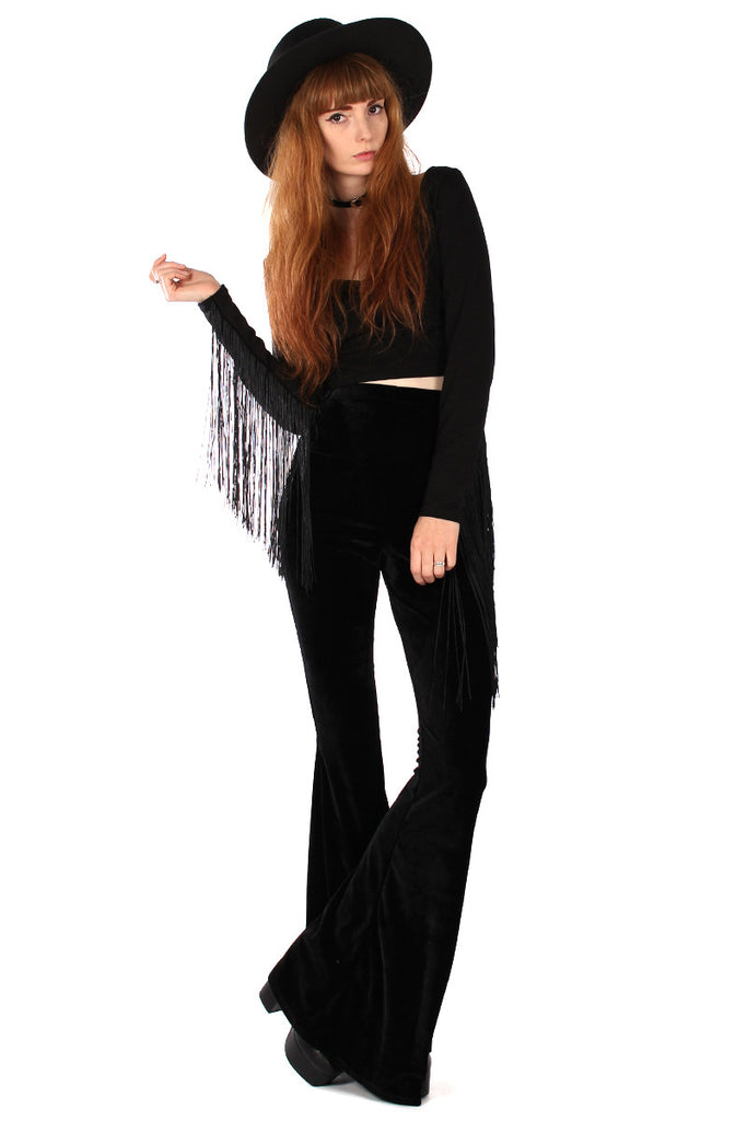 Basics Velvet Bell Bottoms - Onyx