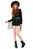Sisters of the Moon Cord Zip Shorts - Forest Green