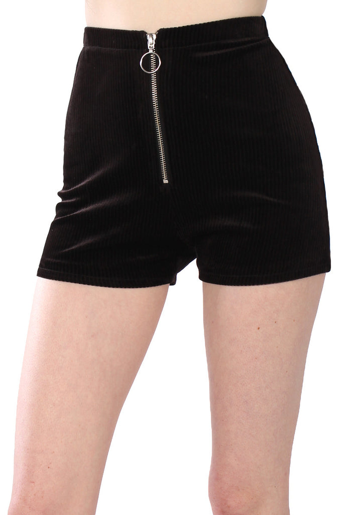 Sisters of the Moon Cord Zip Shorts - Black