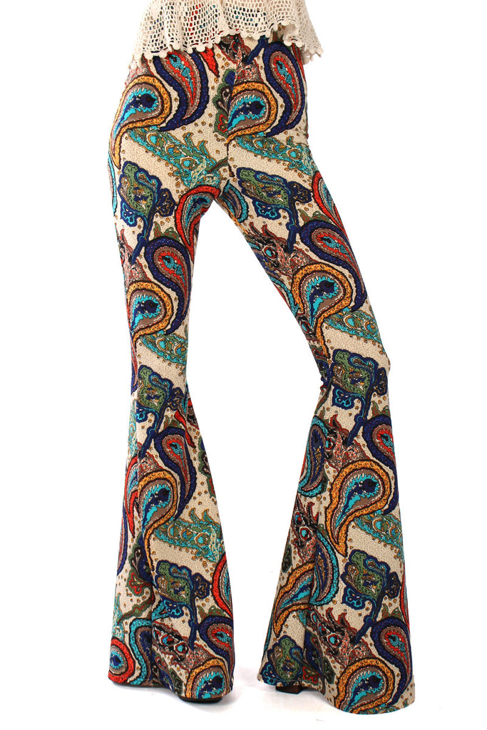 Mantra Paisley Bell Bottoms - Blue