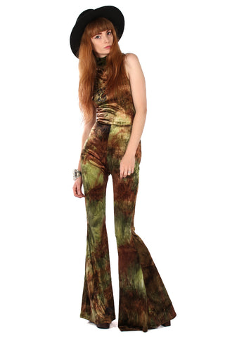 Willow Velvet Plunge Bell Bottom Jumpsuit