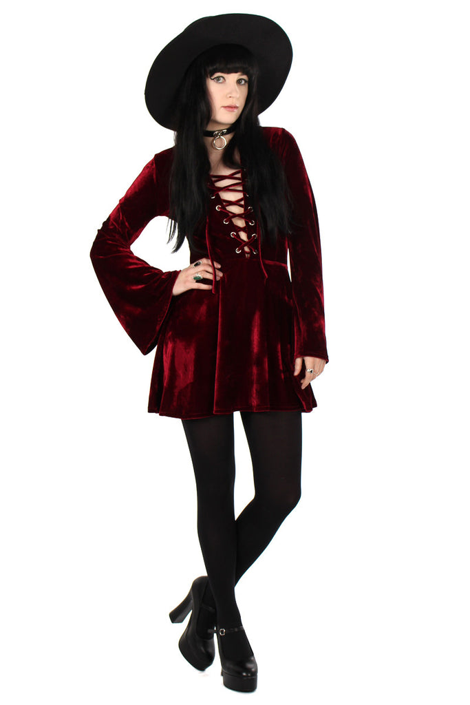 Sabbath Lace Up Velvet Bell Sleeve Mini Dress - Garnet