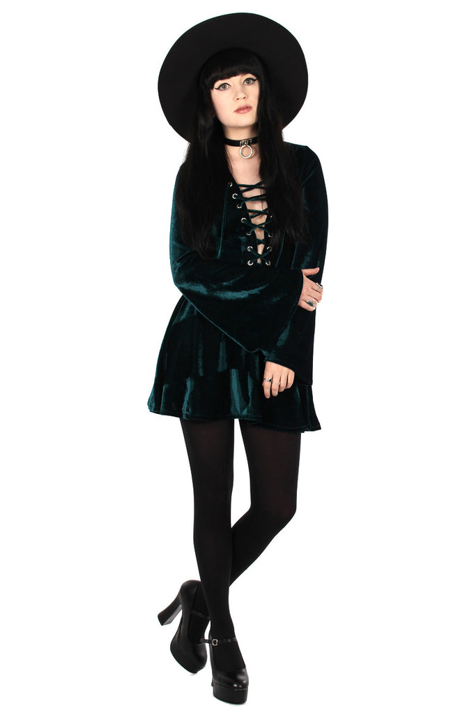 Sabbath Lace Up Velvet Bell Sleeve Mini Dress - Emerald