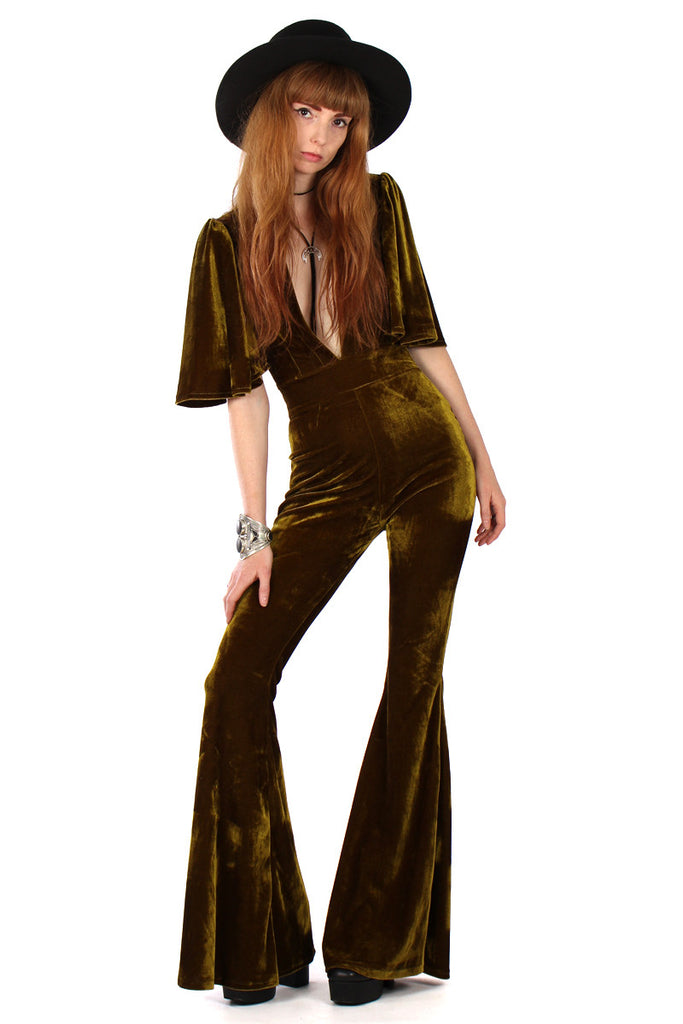 Willow Velvet Plunge Bell Bottom Jumpsuit - Olive