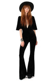 Willow Velvet Plunge Bell Bottom Jumpsuit - Onyx