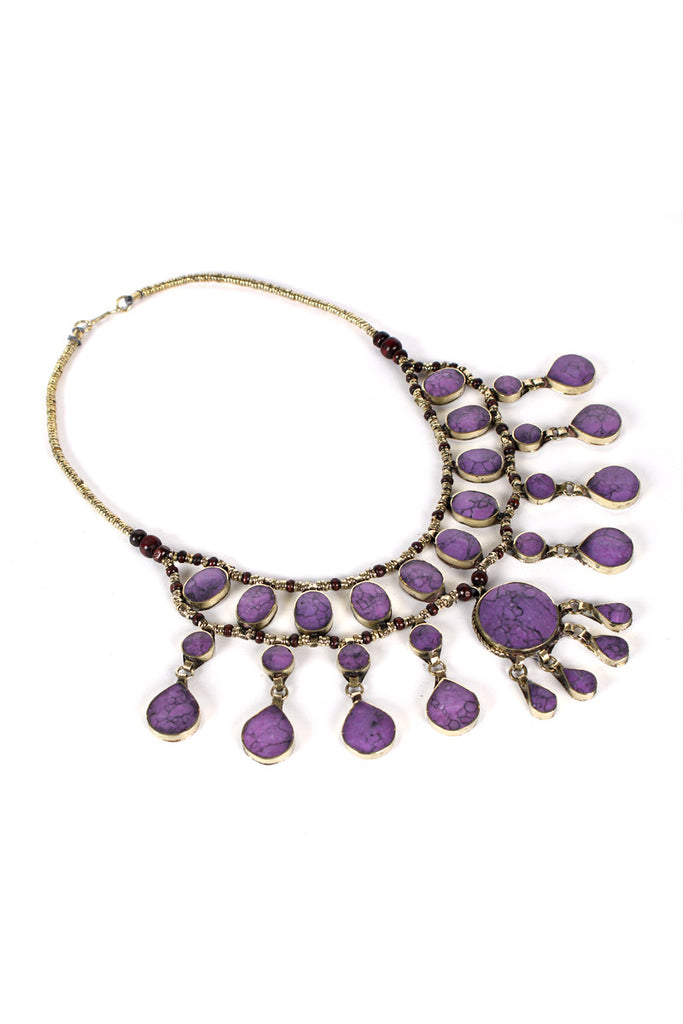 Vintage Tribal Kuchi Amethyst Necklace