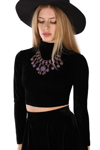 Vintage 90s Black Cyber Lady Turtleneck Top