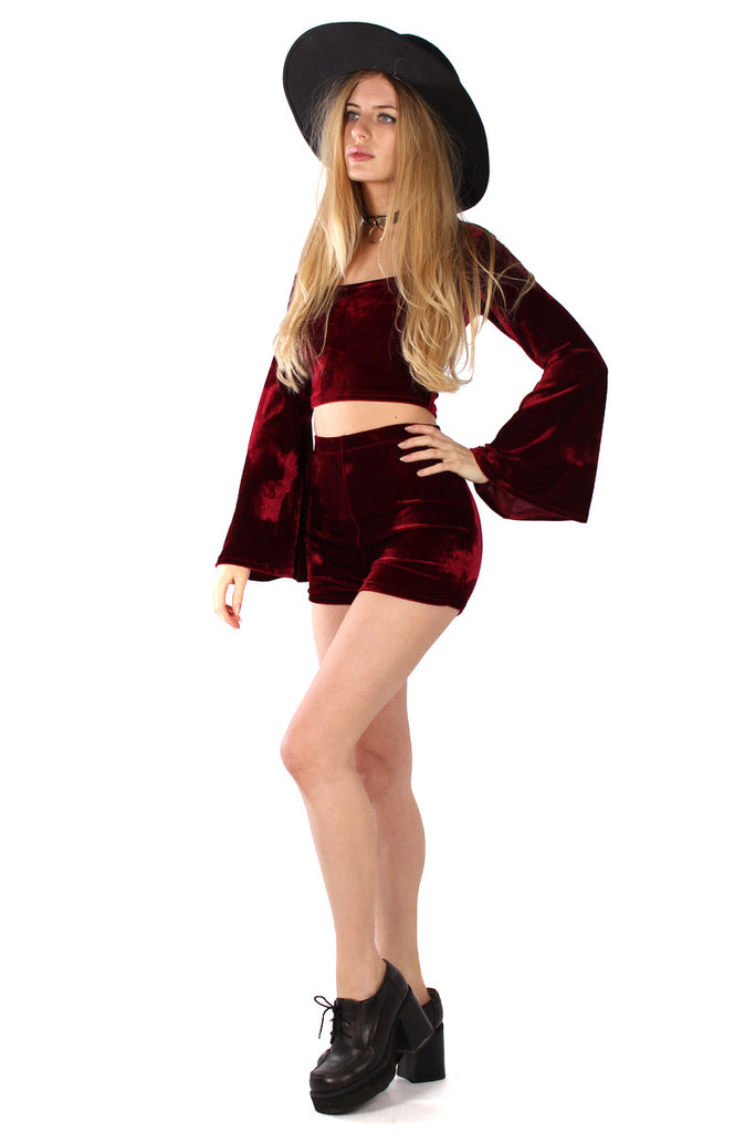 Basics Velvet Bell Sleeve Top & Shorts Set - Garnet