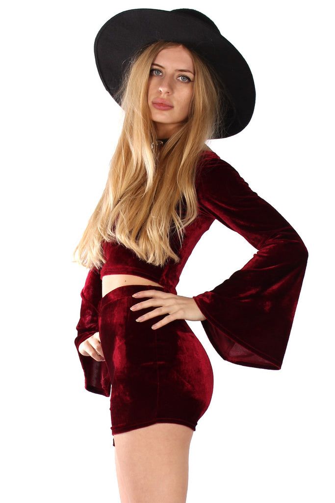Basics Velvet Bell Sleeve Crop Top - Garnet