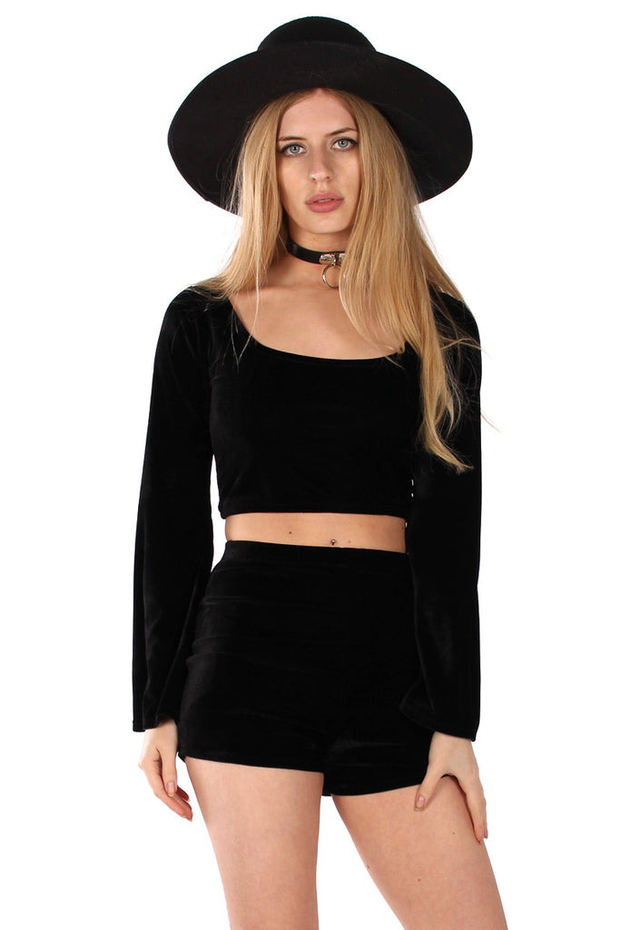 Basics Velvet Bell Sleeve Crop Top - Onyx