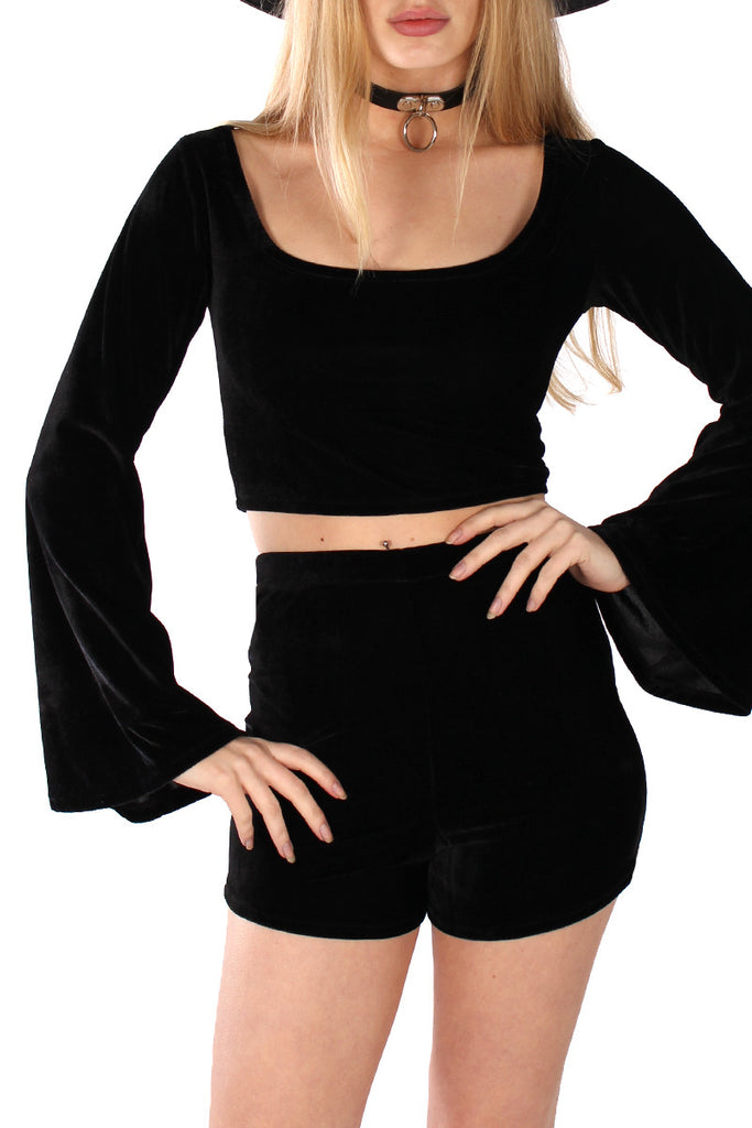 Basics Velvet Bell Sleeve Top & Shorts Set - Onyx