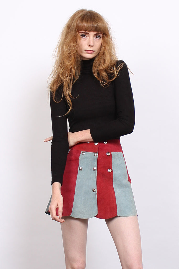 Vintage 70s Red & Blue Suede Scalloped Mini Skirt