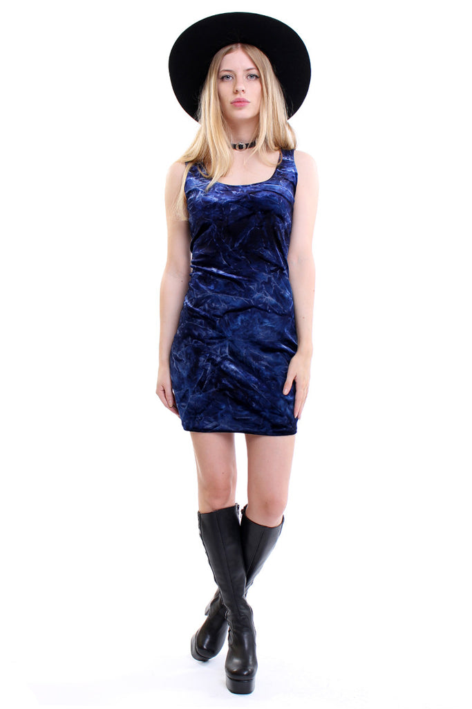 Vintage 90s Blue Tie Dye Velvet Bodycon Dress