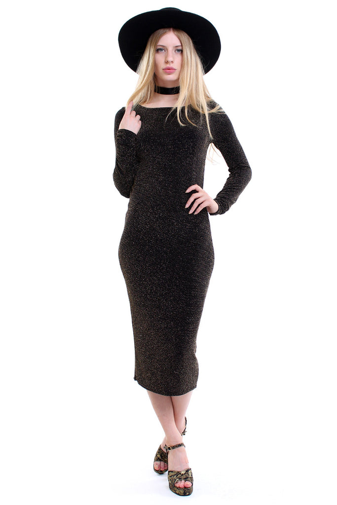 Vintage 90s Gold Glitter Bodycon Midi Dress