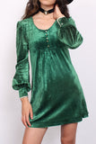 Vintage 70s Green Crushed Velvet Lace Babydoll Mini Dress