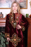 Vintage 70s Burgundy Velvet Embroidered Indian Hooded Hippie Kaftan