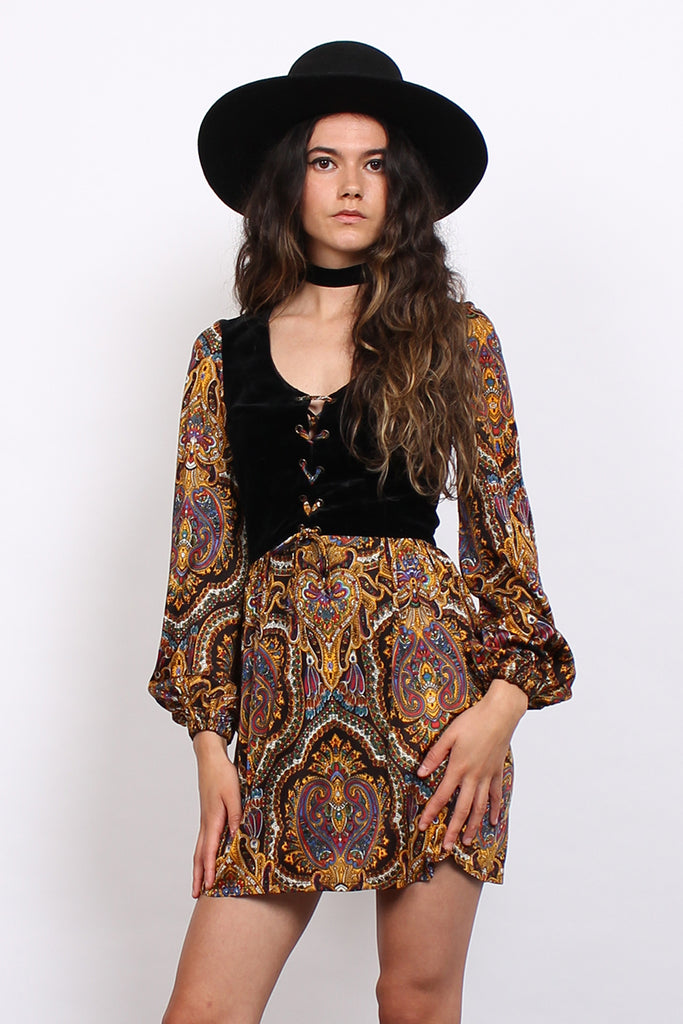 Vintage 70s Black Velvet Paisley Psychedelic Lace Up Mini Dress