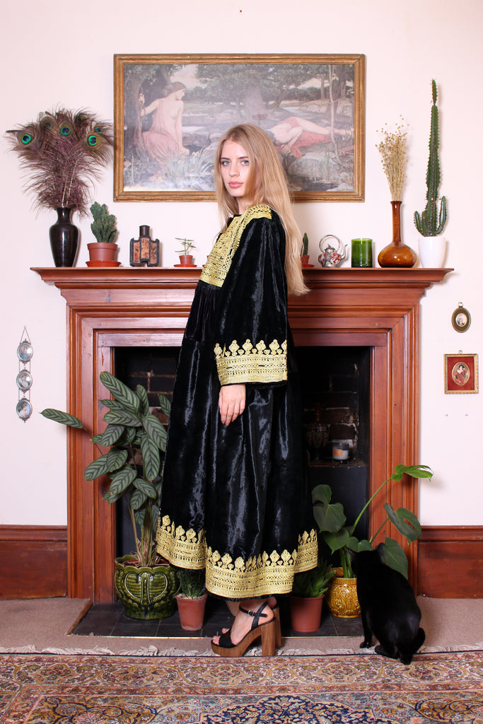 Vintage Afghan Kuchi Tribal Black Velvet Embroidered Dress