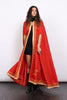 Vintage 70s Red Embroidered Hooded Ceremonial Cape