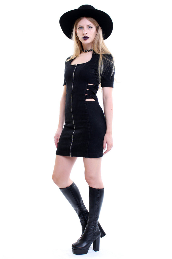 Vintage 90s Black Denim Cut Out Mini Dress