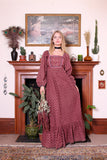 Vintage 70s Earlybird Burgundy Floral Hippie Boho Maxi Dress