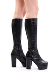 Vintage 90s Hearts Black Leather Platform Boots