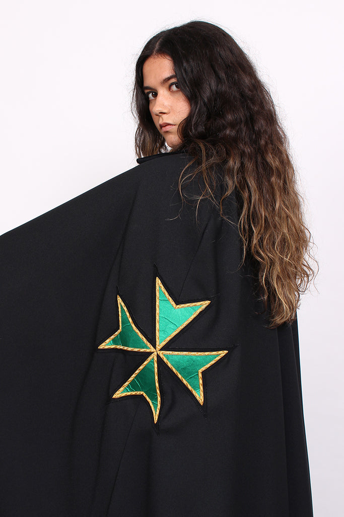 Vintage Black Maltese Cross Velvet Collar Cape