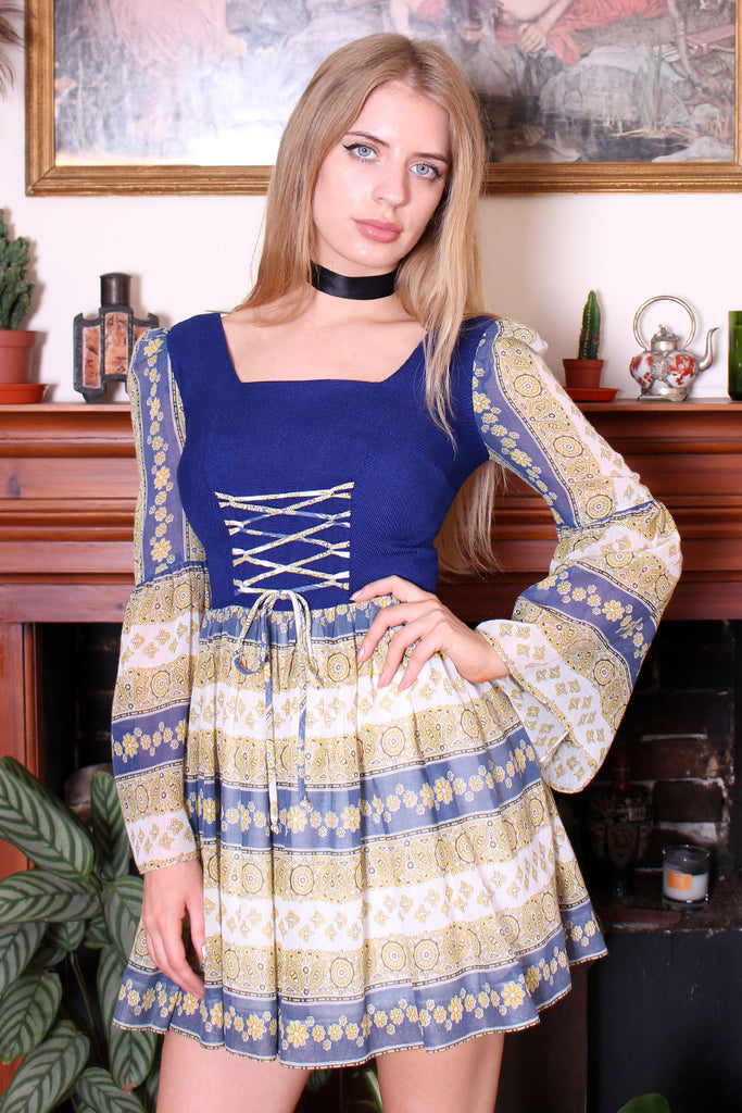 Vintage 60s Blue Floral Lace Up Bell Sleeve Mini Dress