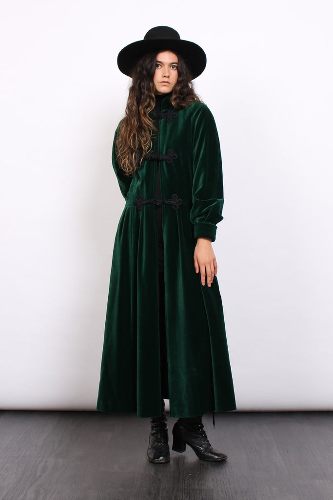 Vintage 60s Carven Emerald Velvet Frog Closures Maxi Coat