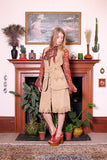 Vintage 70s Sandstone Embossed Suede Vest Skirt Two Piece Set