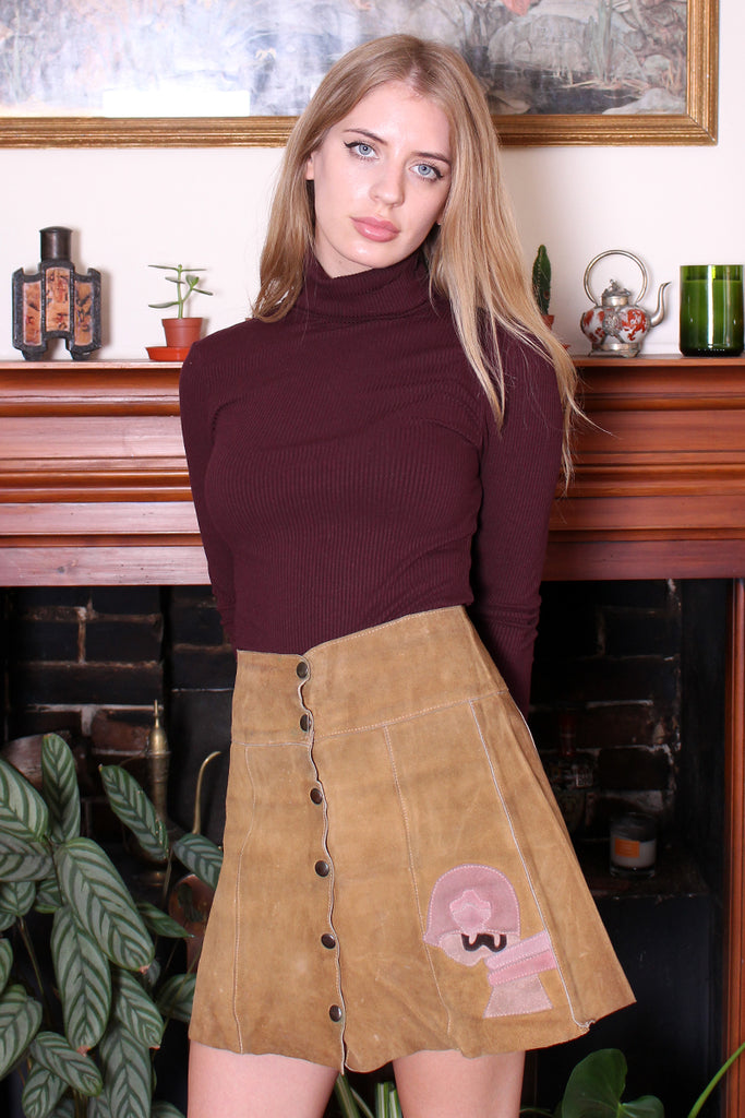 Vintage 70s Sand Suede Appliqued Art Deco Snap Front Mini Skirt